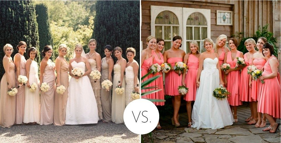 Battle of the pinks: blushes or brights? We love 'em both on these lovely ladies. Browse more colorful bridesmaid dresses: