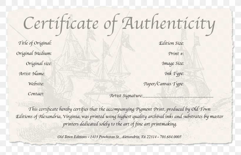 Certificate Of Authenticity Authenticity In Art Work Of