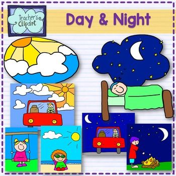 This Set Includes Line Art And Colored Graphics For Day Night Sleeping Driving At Night Driving At Day Playing Camping At The Clip Art Night Driving Line Art