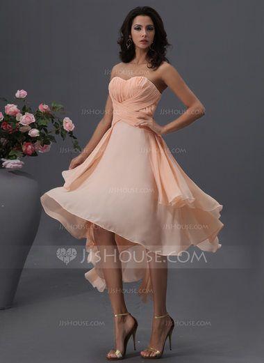 27e258255ef5 A-Line/Princess Sweetheart Asymmetrical Chiffon Bridesmaid Dress With Ruffle  (007022746) - JJsHouse