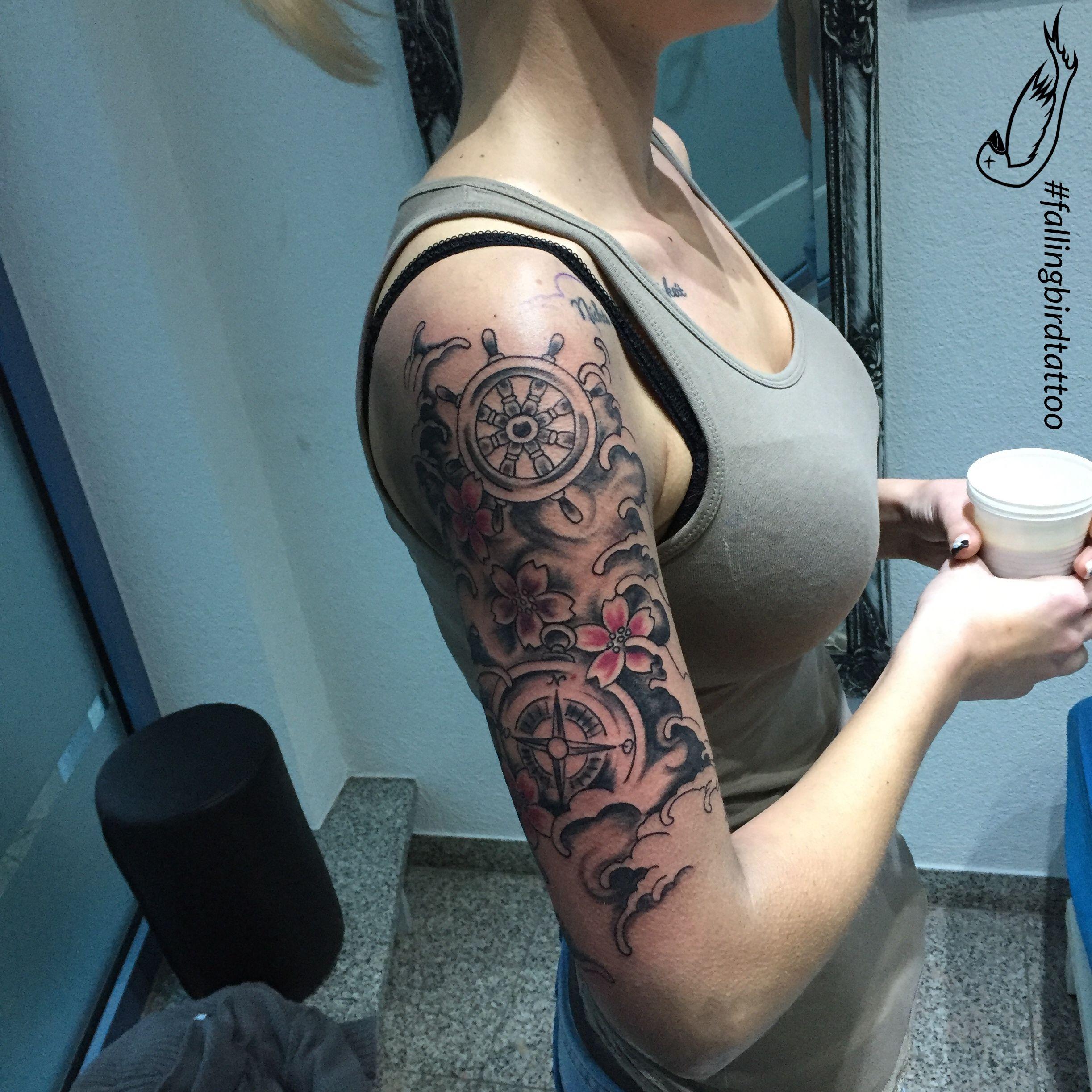 1274278d2 Anker / Anchor Tattoo compass Wave Kompass Falling Bird Tattoo studio Tattoo