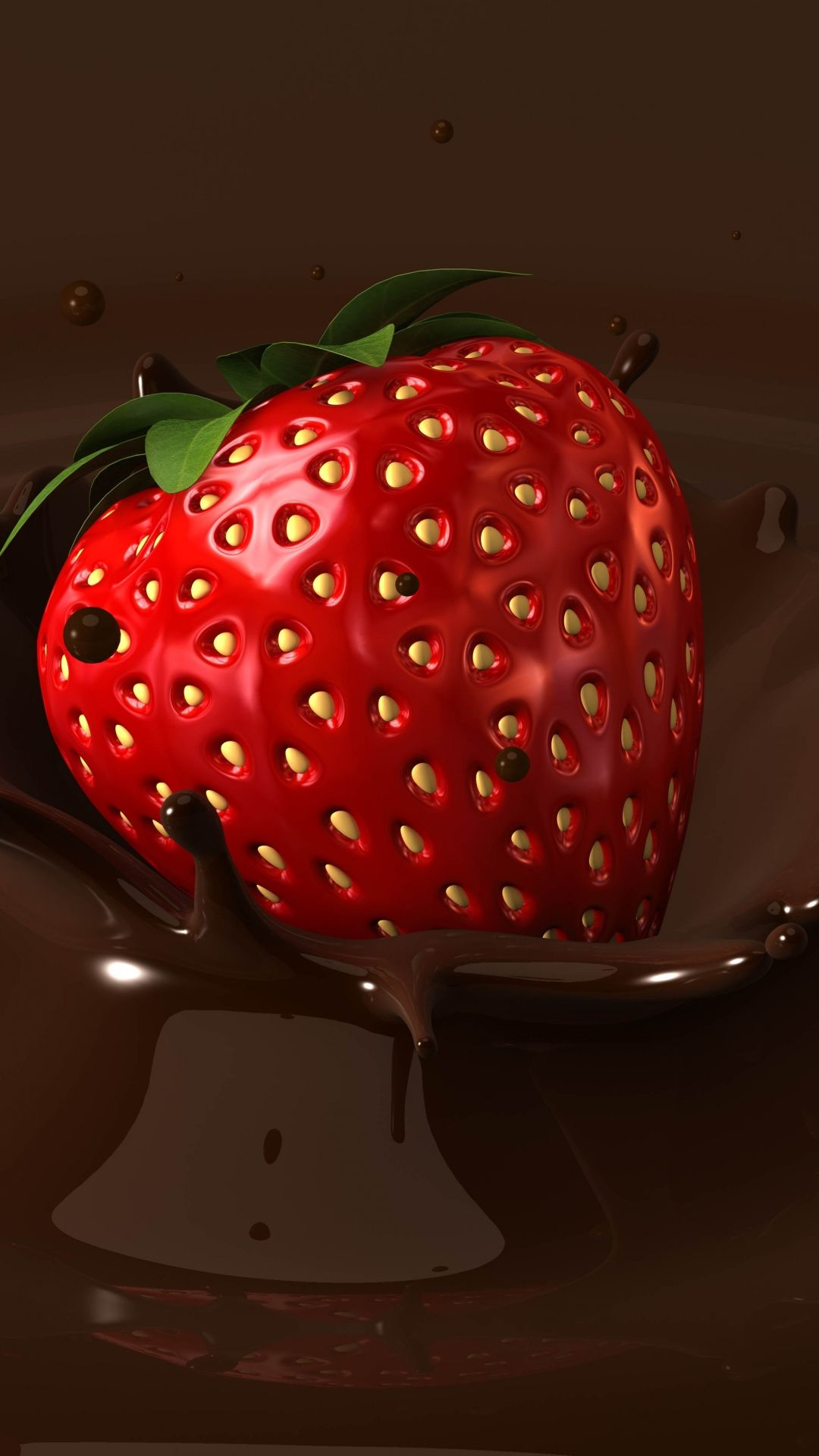 TAP AND GET THE FREE APP Food Strawberry In Chocolate Brown Red