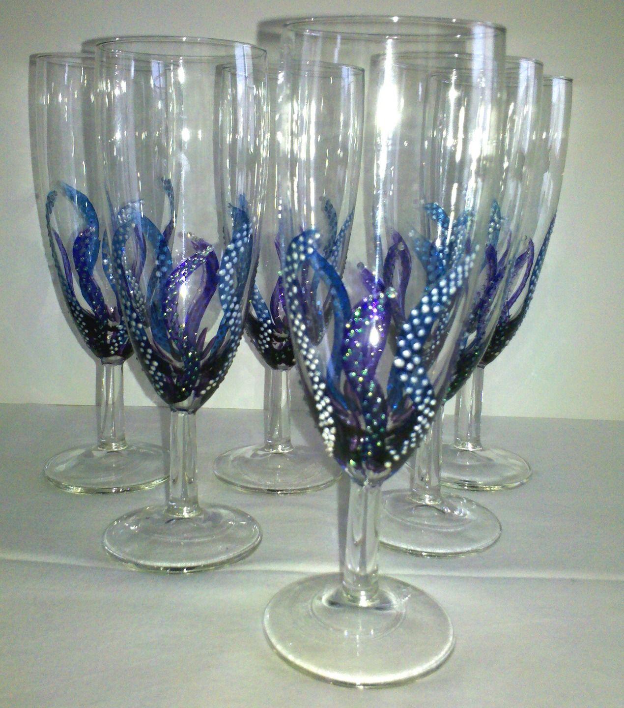 6 fl tes champagne flammes bleues vaisselle verres par mamycole verres et carafes - Peinture sur plateau en verre ...
