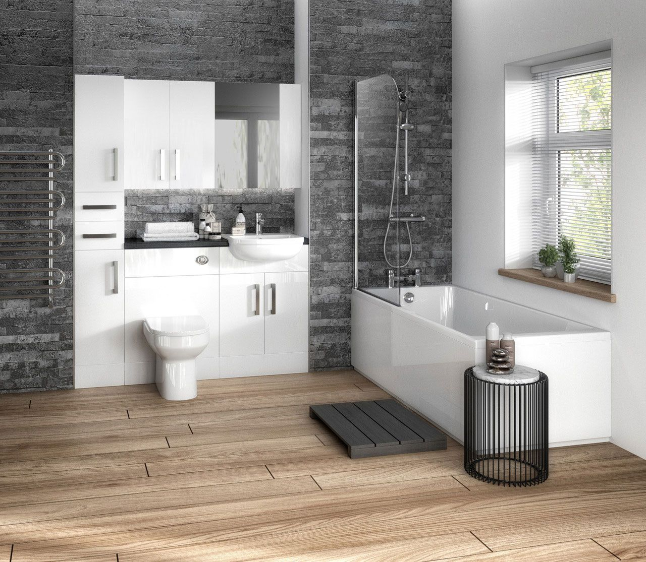 Stylish White Bathroom Furniture Is Perfect For Creating A Modern Bathroom Design Combine Bathroom Furniture Modern Modern Bathroom Design Bathroom Furniture