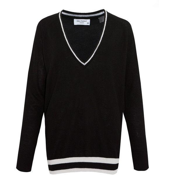 Equipment Black Kelsey Contrast V-Neck Cashmere Jumper (4 330 SEK) ❤ liked on Polyvore featuring tops, sweaters, black top, v neck sweater, deep v neck sweater, black v neck sweater and black slouchy sweater