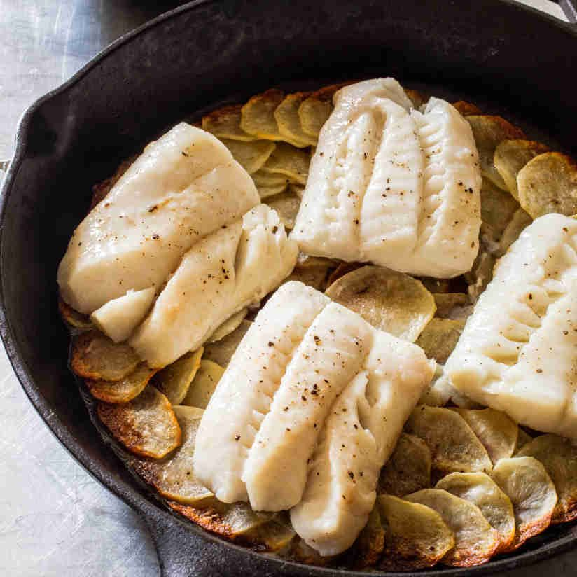 cast iron pan roasted cod and potatoes with orange parsley salad rh in pinterest com