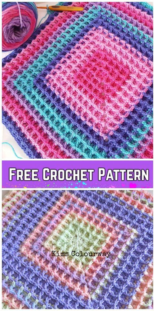 Crochet Raised Squared Waffle Stitch Blanket Free Crochet Pattern ...