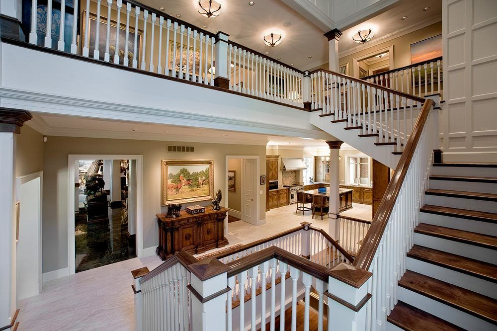 home interior design stairs%0A Traditional Staircase Design Using White Balustrade Natural Oak Steps Grand  Eclectic Interior