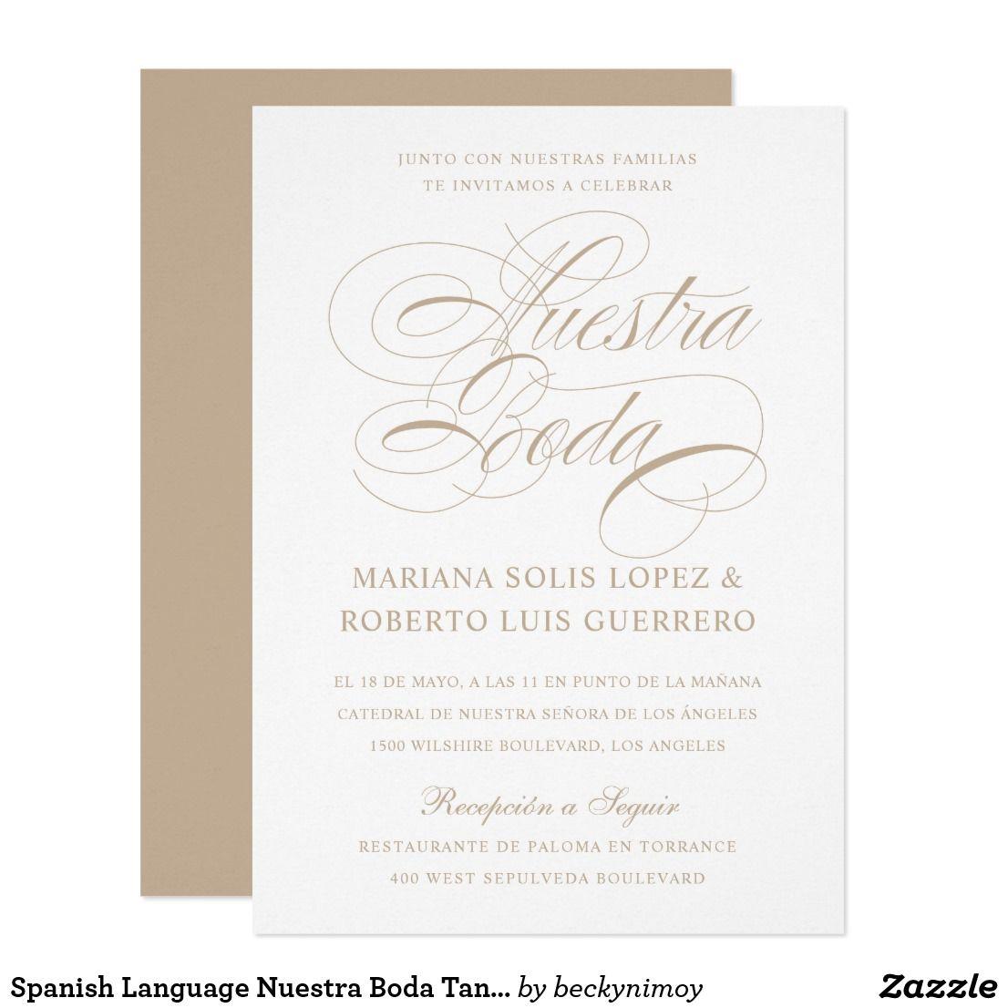 Spanish Language Nuestra Boda Tan Wedding Invitation Zazzle Com