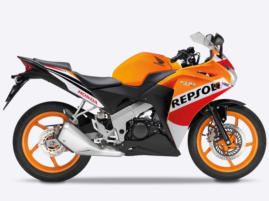 Side On Right Facing White Cbr125r 125cc Motorbike Super Bikes Honda Bikes