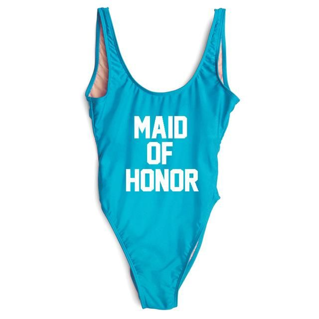 b9a7f9d77ba Maid Of Honor Letter Print Swimwear | Products | One Piece Swimsuit ...