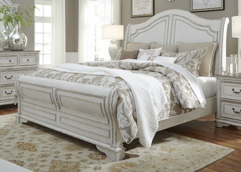 magnolia manor antique white queen sleigh bed home sweet home in rh pinterest com