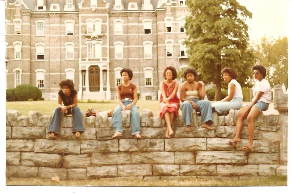 Hanging out on the wall in front of jubilee hall in the