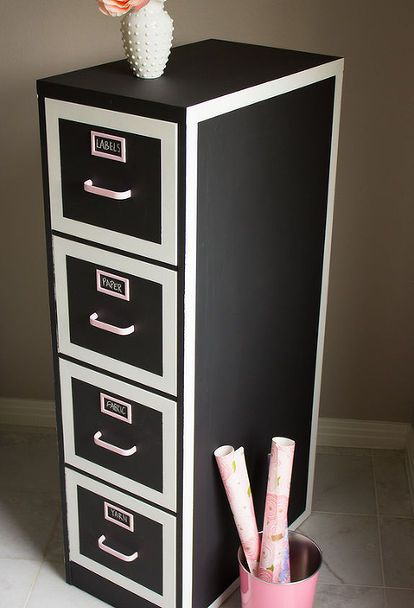 Chalkboard Paint File Cabinet Makeover Craft Rooms Home Office Organizing Storage Ideas