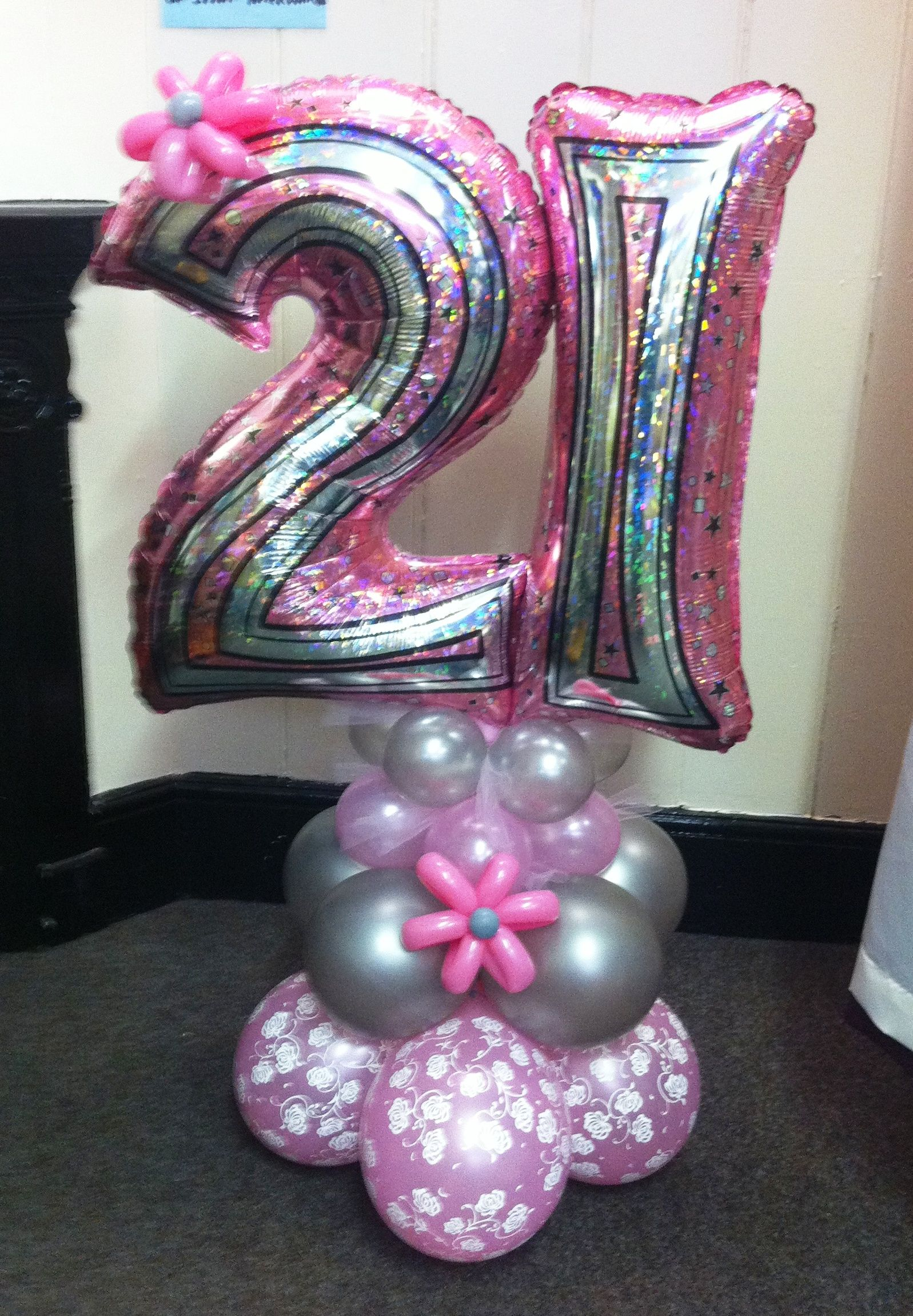 Age 21 balloon on an air filled base great centerpiece for 21st birthday decoration