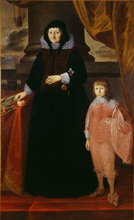 Photo of Portrett av DAME DOROTHY SELBY med en ung gutt i en rød drakt. Henger i G …