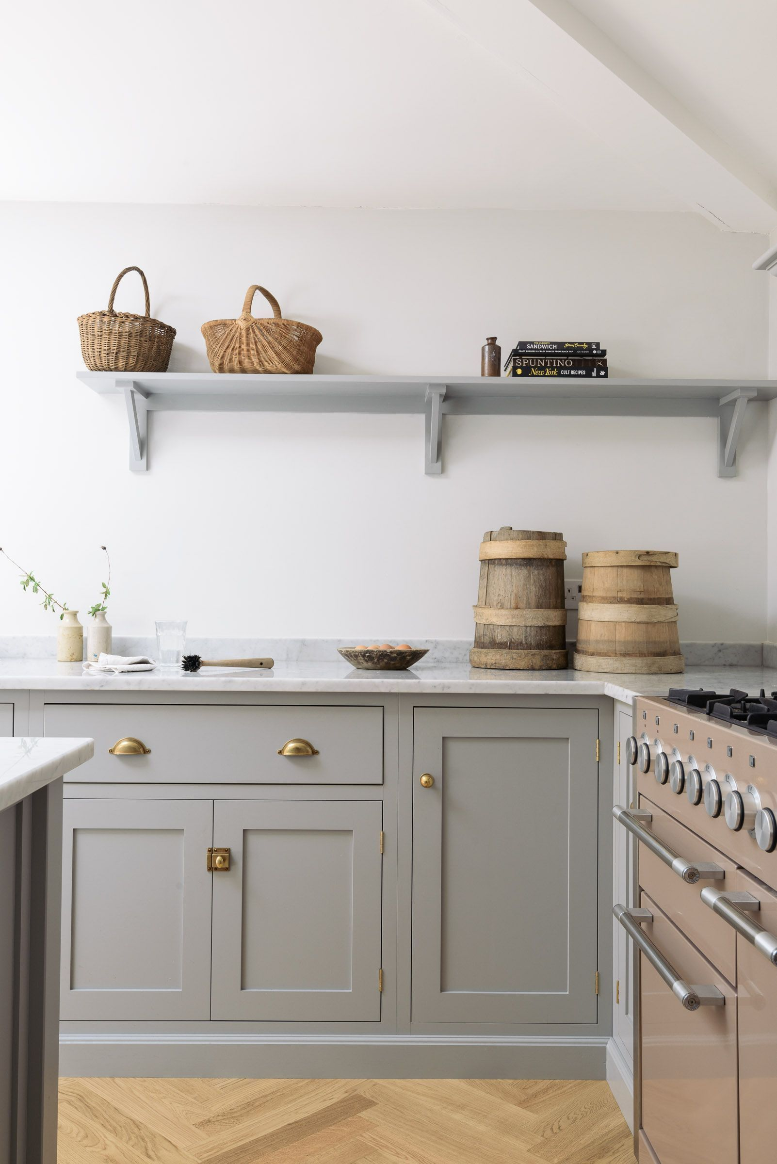 Gray Shaker Kitchen With Shelf How to