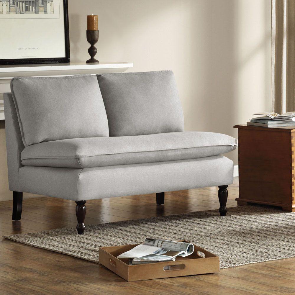 Upholstered Gray Loveseat Sofa Armless Lounge Wood