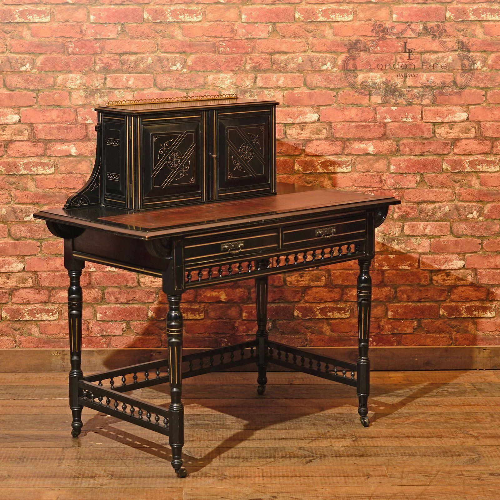 details about antique ebonised writing desk victorian bonheur du rh pinterest com