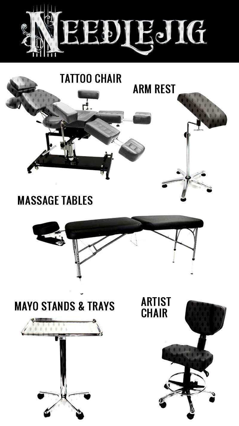 TATTOO F-U-R-N-I-T-U-R-E  All you need to keep your clients comfy while you tattoo. Our folding mas