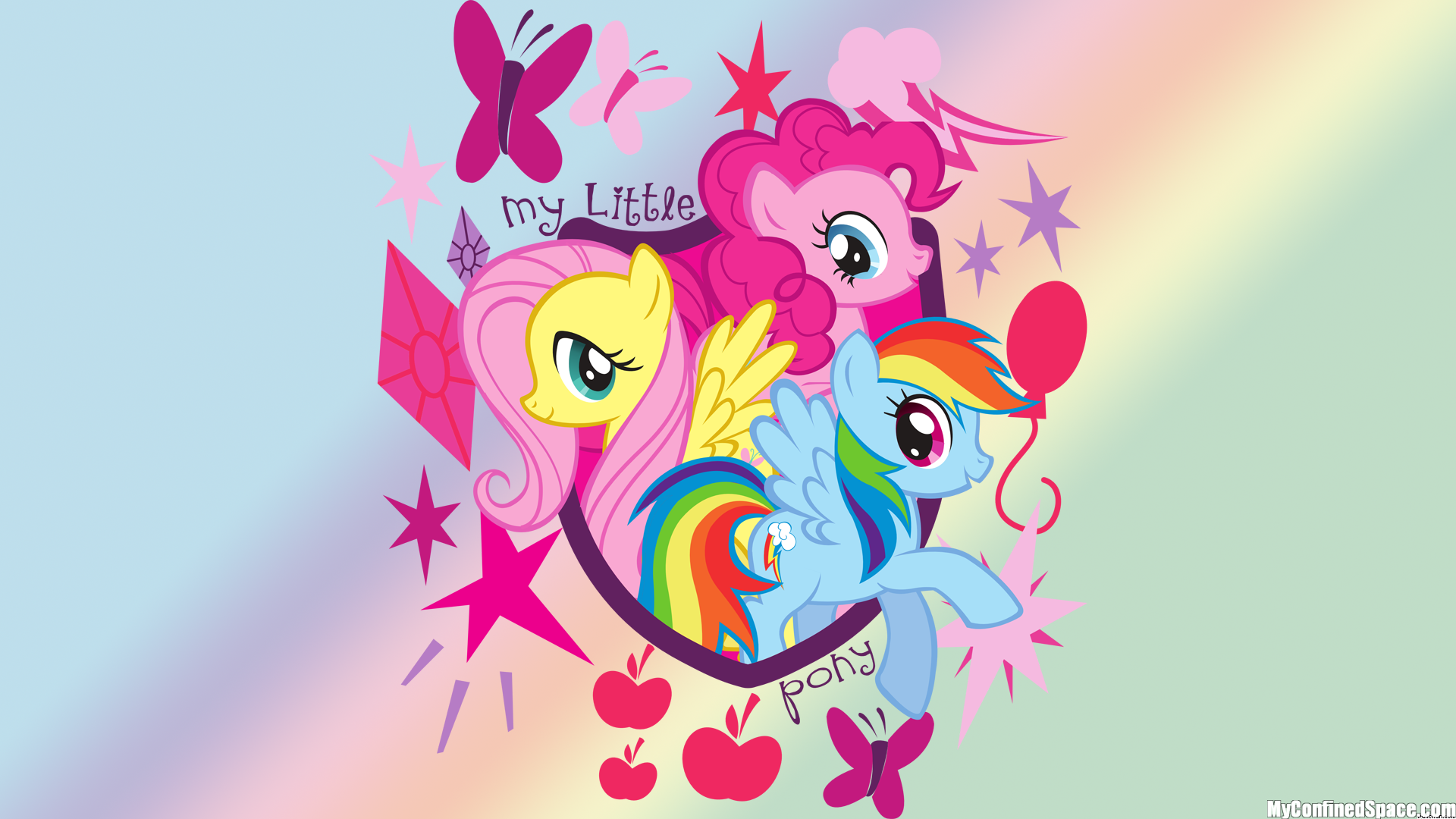 24205 My Little Pony Pinkie Pie Rainbow Dash Flutter Shy Png