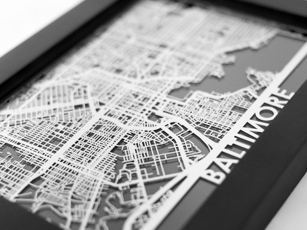 Stainless Steel Baltimore Maryland Cut Map by