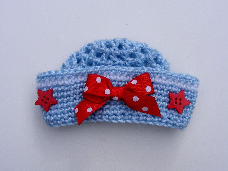 Little Sailor Crochet Hat Pattern - Easy 8 Sizes Baby Crochet ...