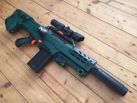 Custom painted Nerf Longshot incl. Nerf Modulus Scope Silencer N7 decals  Paint Job: Color