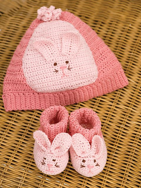 Free Ravelry: Bunny Hat & Booties (Booties) pattern by Michele Wilcox