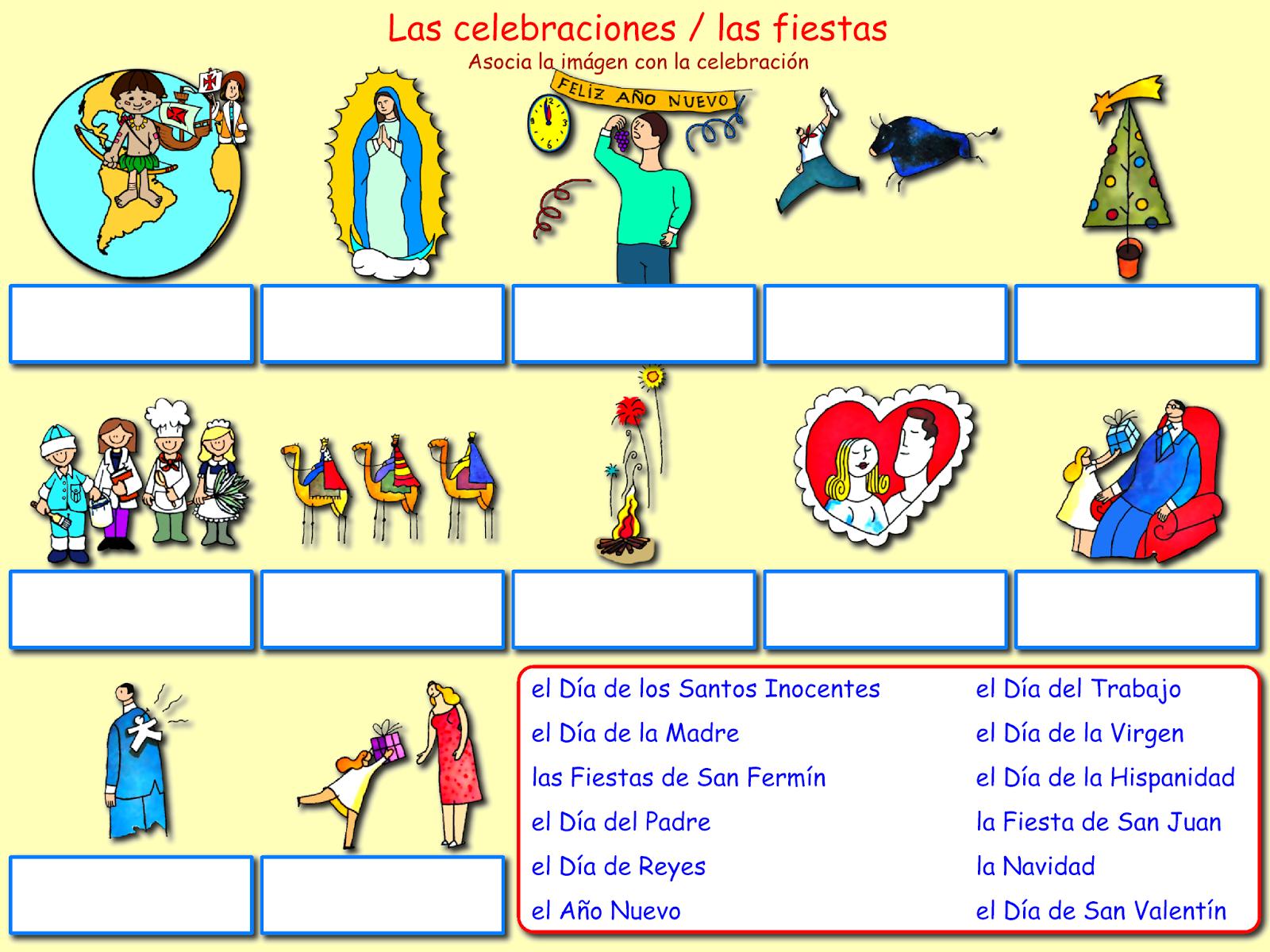 Me Encanta Escribir En Espanol Las Festividades Las