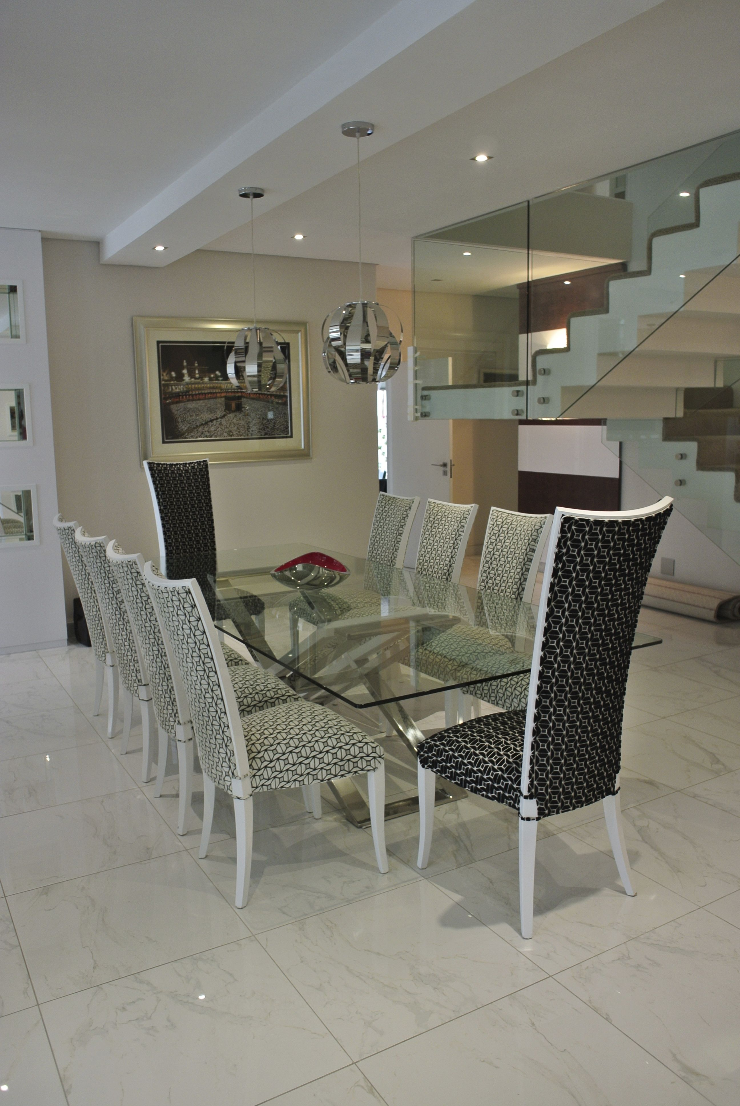 A bold modern stainless steel table softened