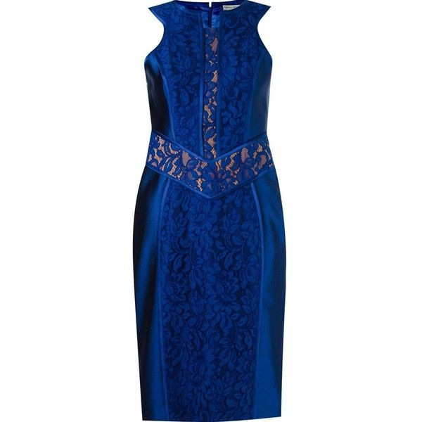 Martha Medeiros lace patchwork sleeveless dress ($3,596) ❤ liked on Polyvore featuring dresses, blue, no sleeve dress, blue cut out dress, lace cut-out dresses, cut out dresses and sleeveless lace dress