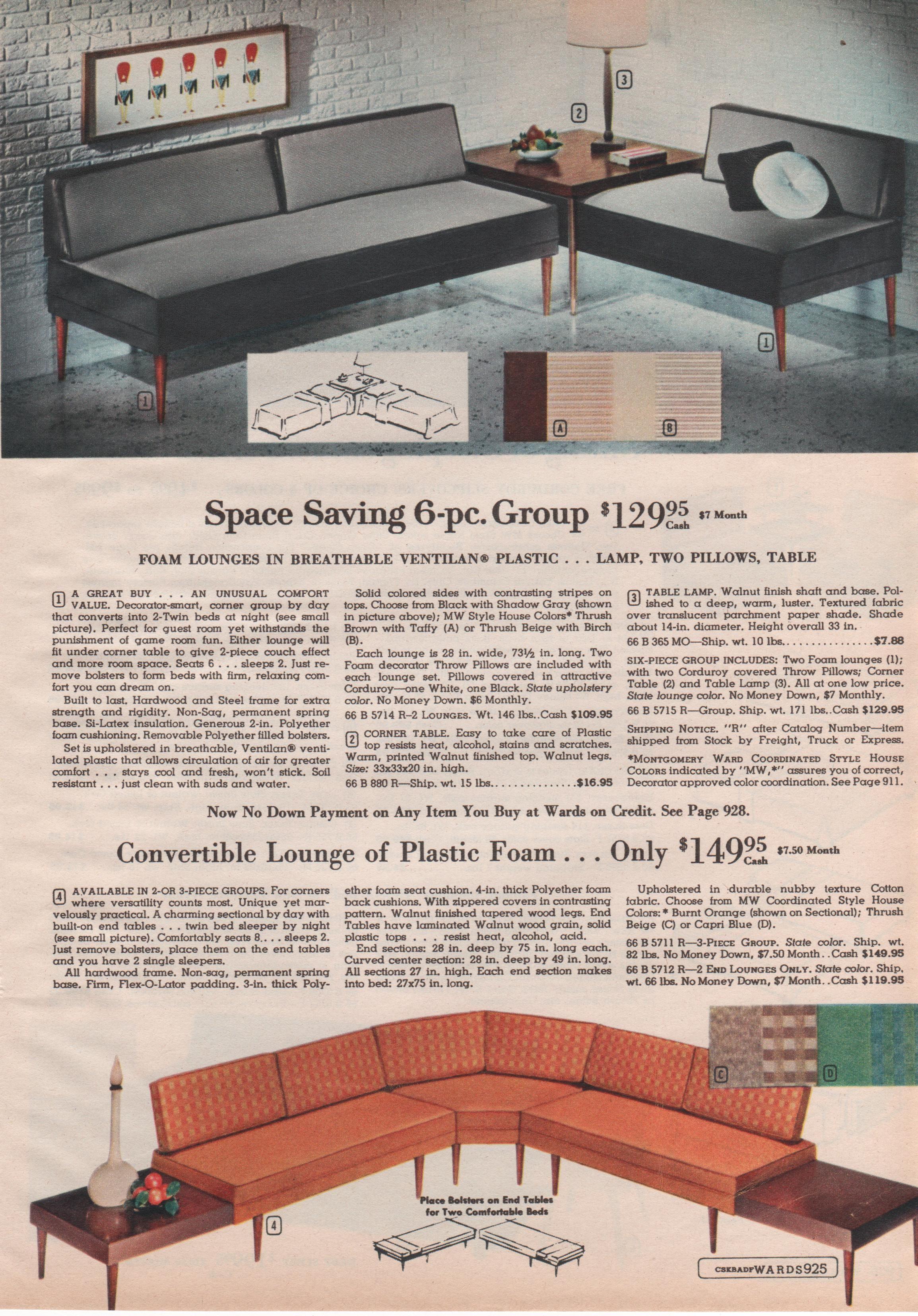 Suburbia furniture collection Montgomery Ward 1962 Mid Century