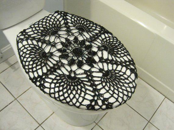 crochet toilet seat cover or crochet toilet tank lid cover black rh pinterest com