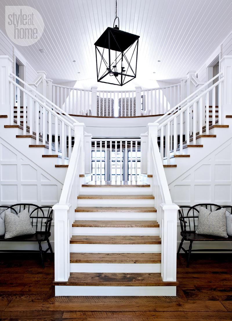 home interior design stairs%0A House tour  Coastalstyle cottage   Coastal style  Lofts and House tours