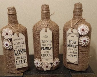 Glass Bottles Jute wrapped DREAM-BELIEVE-INSPIRE door bottletime