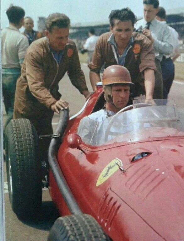 GP Gran Bretaña/1958. Peter Collins y su Ferrari 246. Su última victoria. Muere 2 semanas más tarde en Nurburgring.