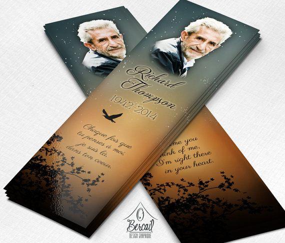 Sunset Celebration of Life Bookmark for Men • Printable Memorial ...