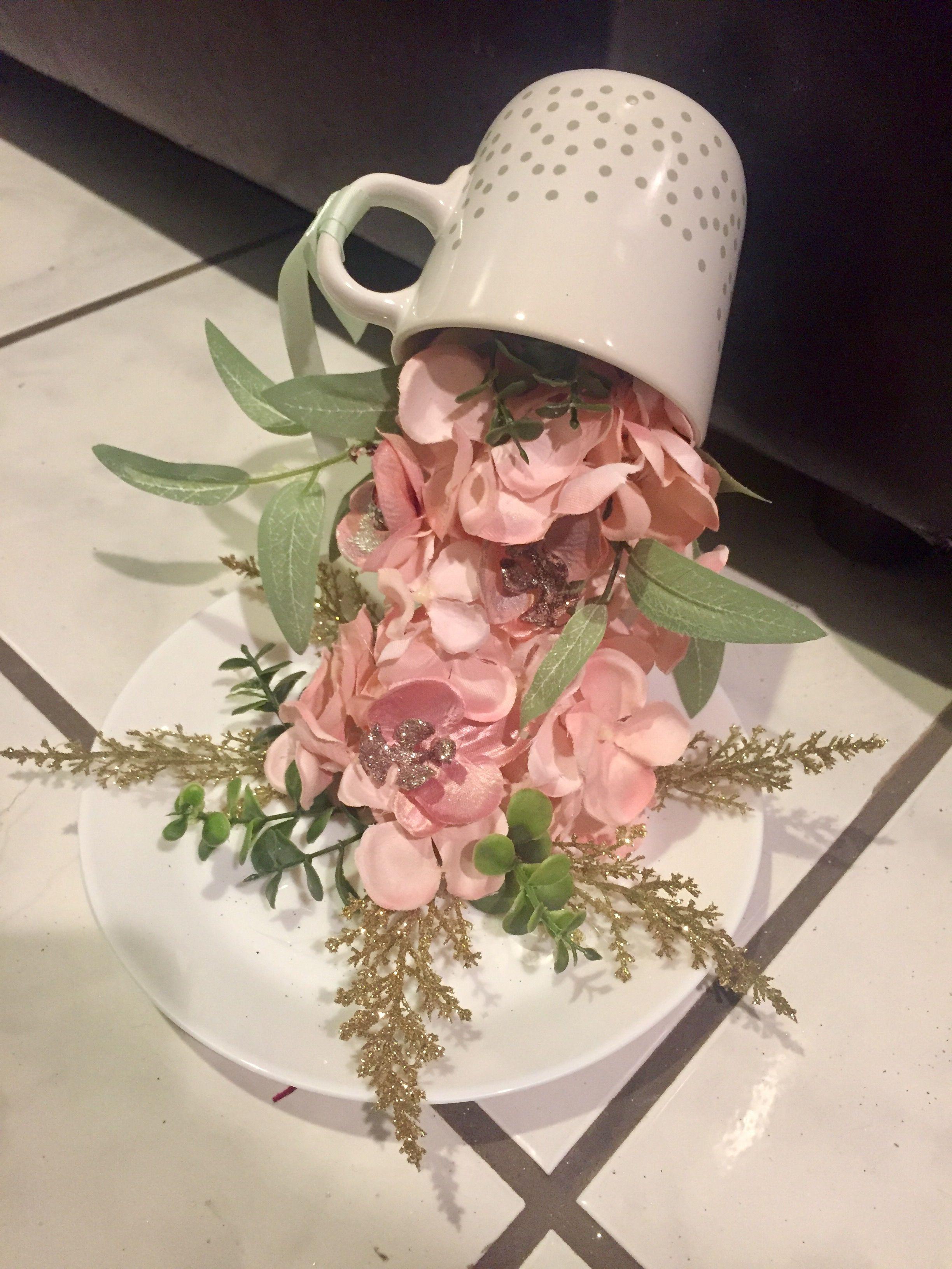 craft ideas homemade bridal shower decoration%0A Overflowing teacup  flowers  floatingteacup