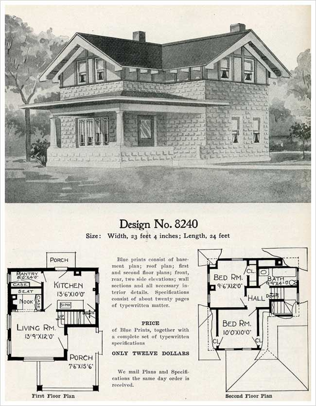 1909 Eclectic Cement House Plan Radford Model 8240 Half Timbered Bungalow Cement House House Plans Vintage House Plans