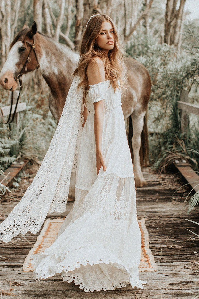 This Couple Got Married On A Brooklyn Rooftop Garden Bohemian Wedding Dress Wedding Dresses Lace Bohemian Bride Boho Wedding