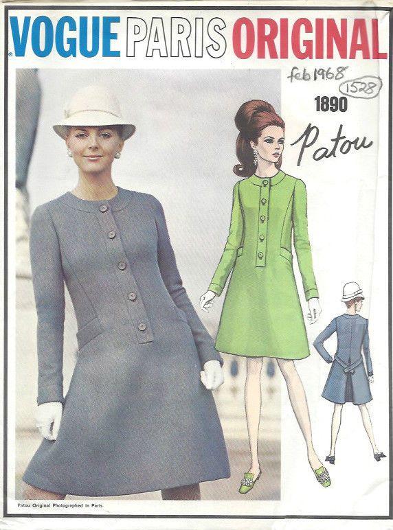 1968 Vintage VOGUE Sewing Pattern DRESS B36\