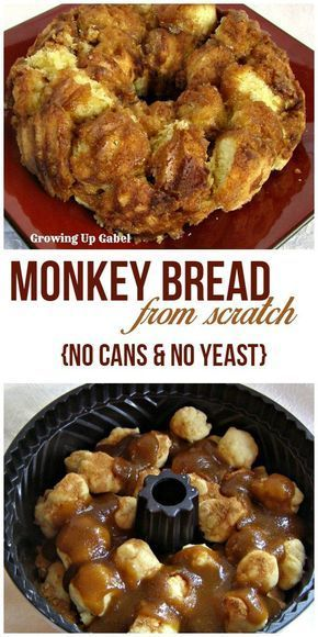 Homemade Monkey Bread from Scratch #monkeybreadwithcannedbiscuits Need monkey bread but don't have canned biscuits or the time for yeast? This homemade monkey bread from scratch recipe is for you! No cans and no yeast required. Just a quick monkey bread recipe that's easy to make and delicious to eat! #monkeybreadwithcannedbiscuits