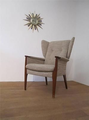 Details About Retro Parker Knoll Armchair Tweed Wingback
