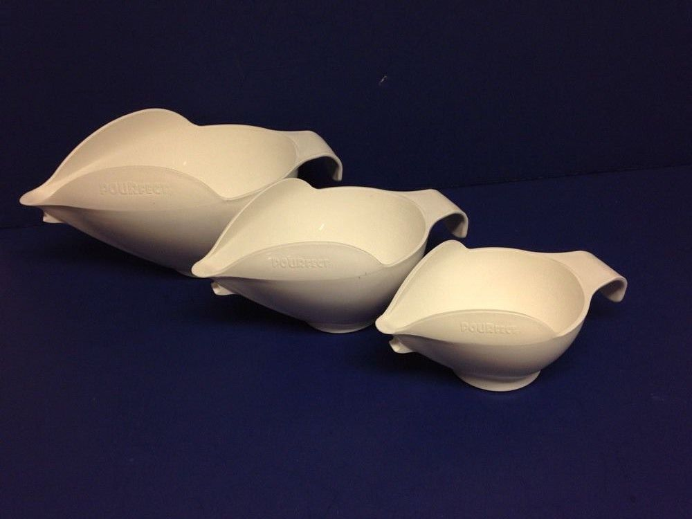 3 Pourfect Spill Proof Bowls White Randy Kaas 1 2 and 4 cup #Pourfect