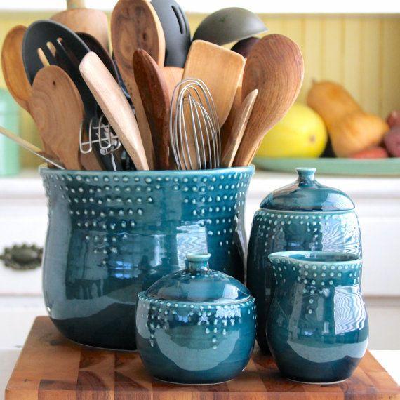 Chef Size Kitchen Utensil Holder Deep Sea Blue Giant Jumbo Hand Thrown Vase Modern Home Decor Ready To Sh Utensil Holder Pottery Kitchen Utensil Holder