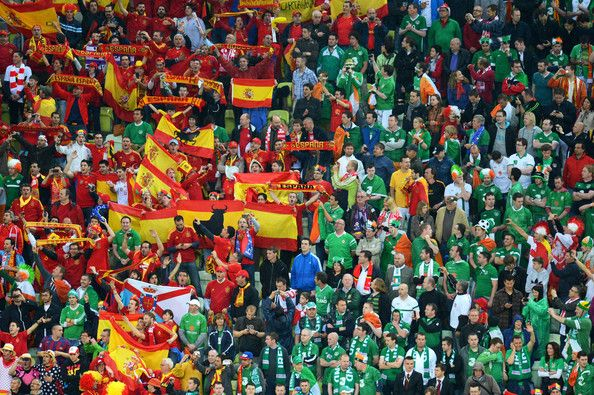 Football fans look on during the UEFA EURO 2012 group C match between Spain and Ireland