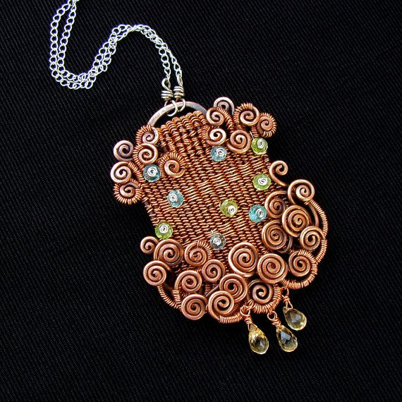 Joy Revisited  Woven Copper Necklace with Gemstones by sparkflight, $195.00