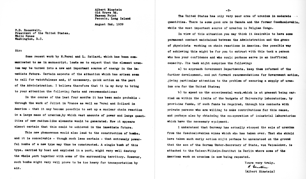 The SzilardEinstein Letter Sent To Fdr That Kicked Off The