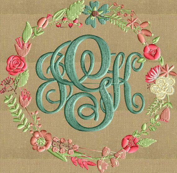 Fuente floral marco monograma bordado diseño fuente por StitchElf ...